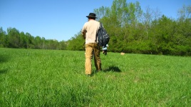 me setting out to set up the field targets